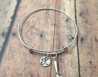 Gavel initial bangle - law jewelry, gift for law student, gavel jewelry, lawyer jewelry, judge bangle, gift for judge, judge gavel bracelet