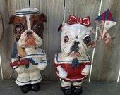 Vintage Folk Art English Bulldog Dog Sailor BoyDog or Girl Dog Doll Vintage Nostalgic Outsider Custom