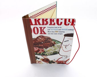 Refillable Journal Cover, Barbecue Cookbook, Vintage Book Cover