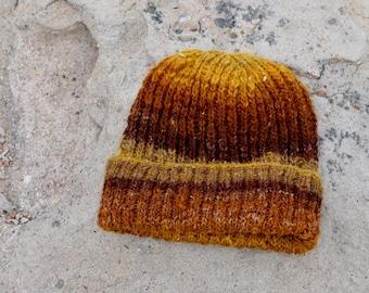 Men's Hat, Watchcap, Traditional Lumberjack Beanie in Fall Colors - Gold, Brown, Tan. Merino Wool, Hemp. Handblended, handspun, handknit.