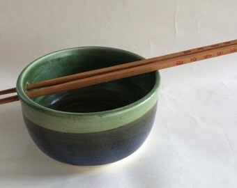 NOODLE bowl/green and blue/ with a set of chopsticks/ ceramic/pottery/ Handmade/ in stock