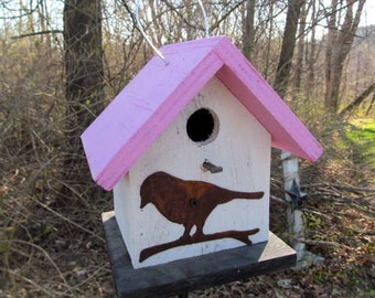 Birdhouse Functional Primitive White Pink Rusty Bird Cutout