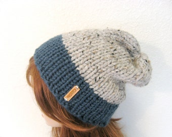 Slouchy Chunky Knit Hat / ASPEN / Denim and Grey Marble