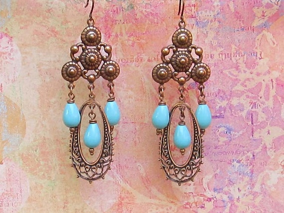 Copper turquois chandelier earrings Gypsy Bohemian jewelry