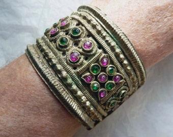 Vintage Kuchi Bracelet, Ethnic Bracelet with Ornate Metal Work and Glass Cabochons