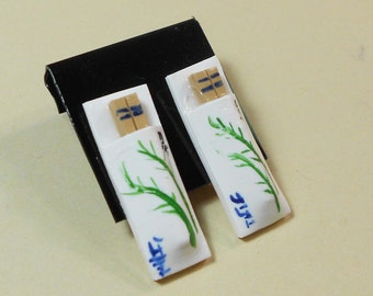 Chopstick stud earrings chinese food miniature cute polymer clay surgical steel