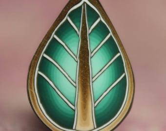 Green Polymer Clay Leaf Cane -'Ripple' series (16A)