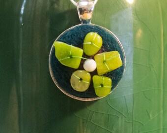 OOAK Needle Felted Jade Flower Pendant