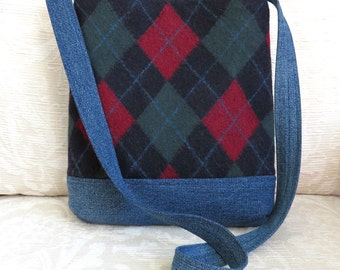JAMES Shoulder Bag in Navy Argyle Sweater Wool and Denim, Eco Friendly Upcycled Purse