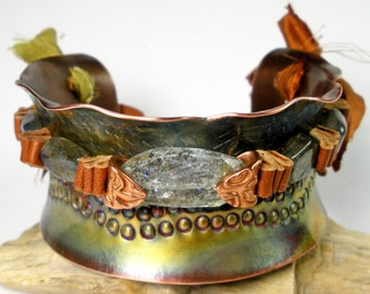 Beaded Copper Cuff, Stamped Copper, Moss Aquamarine, Labradorite, Fits Small Wrist, Leather and Gemstone Beaded, Heat Patina- Tranquility