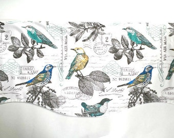 Floral Bird Window Valance/Kitchen/Bedroom/Bath/Topper/Straight/Curved-LINED-Valance, Bird Fabric/Aqua/Green/White/Gray/Yellow/Spring/Summer