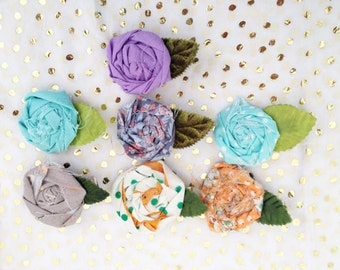 Rustic inspired  mini rosette hair clips for messy hair spring and easter ready
