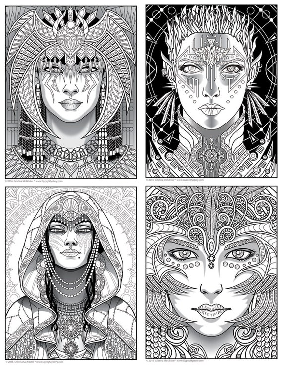 Magical Beauties Print Pack 1 12 Fantasy Coloring Pages
