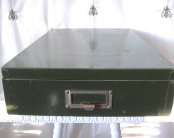 Vintage Rustic Green Metal Flat File Storage Box, Large Memory Box, Industrial, Office