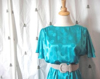 Vintage Aqua Polka Dot Dress, Flutter Sleeves, Elastic Waist, Knee Length, Size Medium or Large