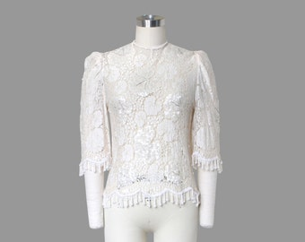 Pretty 70s Beaded Floral Lace Sheer Shirt / Puff Bell Sleeves & Tassel Scalloped Hem / Sz S