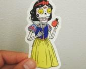 Snow White Calavera Clear Die-cut Vinyl Sticker Day of the Dead