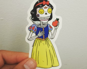 Snow White Calavera Clear Die-cut Vinyl Sticker Day of the Dead