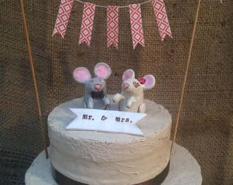 Pink Grey and Ivory Field Mice in Love with pink heart Wedding cake topper for you Rustic Wedding Ready to Ship