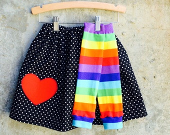 Girls Rainbow Leg Warmer and Polka Dot Skirt Set - Baby, Toddler and Big Kid Sizes - Birthday Gift - Photo Shoot or Party Outfit