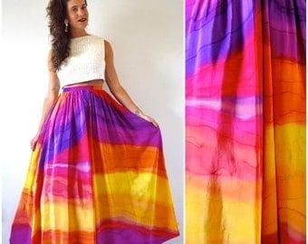 SUMMER SALE / 20% off Vintage 90s Rainbow Goddess High Waisted Flowing Maxi Skirt (size small, medium)