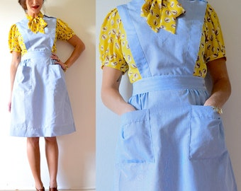 Vintage 60s 70s Baby Blue Micro Pinstriped Candy Striper Pinafore (size small, medium)