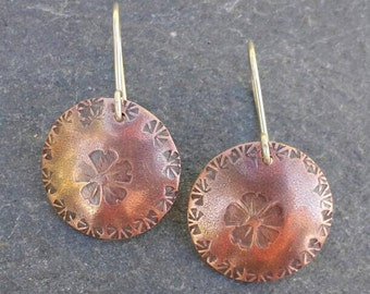 Small lightweight copper and sterling silver flower and leaves stamped dangle earrings, oxidized mixed metal