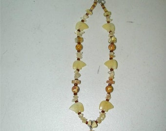 Butter Jade Fetish Necklace Neutral Yellow Pendant 12051