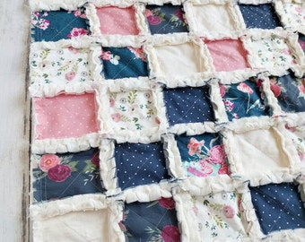 Navy Blue and Pink Floral Quilt - Floral Crib Bedding for Baby Girl - Watercolor Floral Quilt - Baby Shower Gift - Floral Minky Blanket