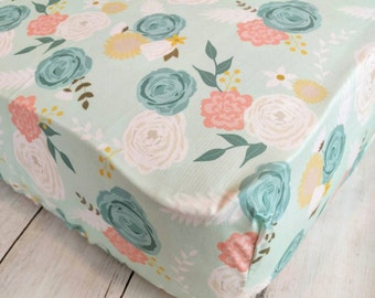 Floral Fitted Crib Sheet - Baby Girl Crib Sheet - Mint Green and Pink Crib Sheet - Floral Nursery Bedding - Watercolor Floral Crib Sheet -