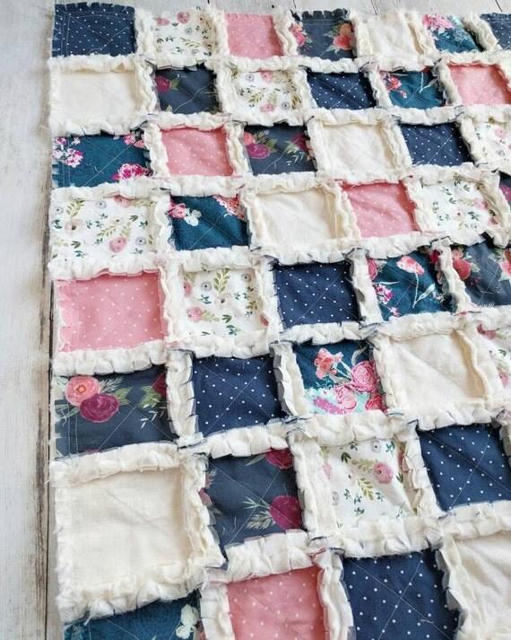 navy blue and pink floral quilt floral crib bedding for baby. Black Bedroom Furniture Sets. Home Design Ideas