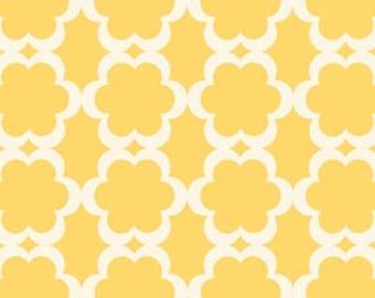 Dena Designs Fabric, Kamari, Taza, Tarika Yellow White, Cotton - HALF YARD