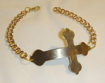 Large Golden Cross Bracelet inv1114