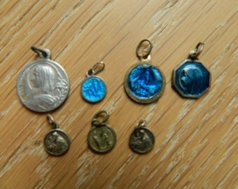 Set of 7 Antique french religious medals -