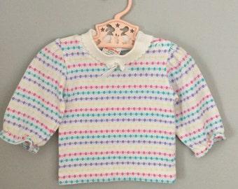 Vintage 80s Healthtex Girls Baby Shirt 6-9 months