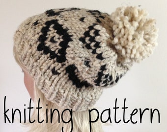 Knit Slouchy Beanie PATTERN Knitted Hat with Aztec style pattern - Pom Pom Hat