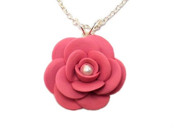 Camellia Necklace - Camellia Jewelry, Camellia Flower, Japanese Rose