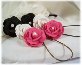 Camellia Dangle Earrings - Camellia Drop Earrings, Camellia Flower, Japanese Rose