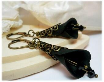 Large Calla Lily Crystal Earrings - Long Calla Lily Earrings
