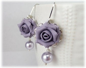 Purple Rose Pearl Earrings - Purple Rose Pearl Jewelry, Purple Flower Earrings