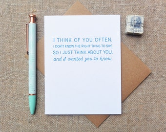 Letterpress Greeting Card - Friendship and Empathy Card - Warm Thoughts - I Think of You Often - WTH-109