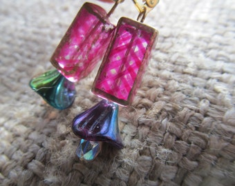 Fuchsia Hand Painted Vintage Lattice Bead And Peacock Rainbow Bell Flower Drop Earrings, Hand Made By Susan Every