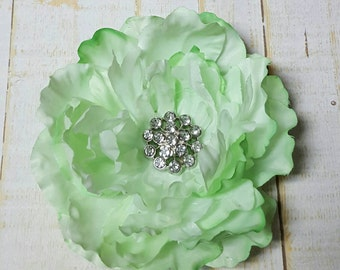 "Green Hair Flower Green Flower Clip Green Hair Clip 3.5"" Green Peony Rhinestone Flower Clip Wedding Bridesmaid Flower Girl Mint Hair Clip"