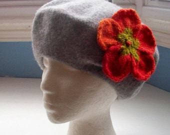 JULY SALE Beret, wool, embellished with large flower pin corsage hand knit shades of orange red