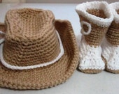 Baby Booties and Hat Crochet Baby Cowboy Hat with Crochet Cowboy Booties by Craftylittlekitten