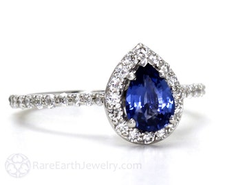 Blue Sapphire Engagement Ring Pear Diamond Halo Sapphire Ring 14K Gold or Palladium