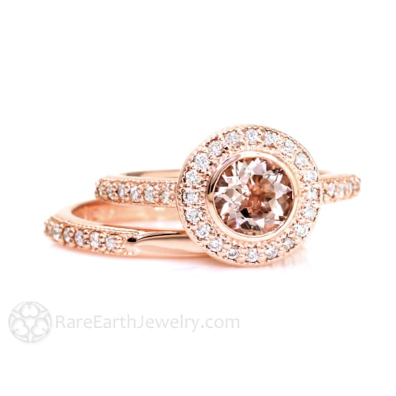 Bezel Morganite Wedding Set Engagement Ring Morganite Ring Diamond Halo 14K or 18K Gold Peach Gemstone Ring Vintage Bridal Set