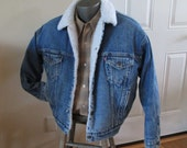Levis Vintage Jacket Blue Denim Levi jacket shearling fake fur Jacket 80s cream sherpa coat Blue stonewashed Jacket M L