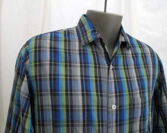 Blue plaid Vintage 60s shirt Lurex cotton blue plaid shirt Button and loop cotton plaid shirt L