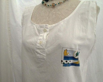 French Beach 80s vintage blouse Sleeveless top 80s Tank top sailboat sunshine blouse White cotton oversized 80s top S M